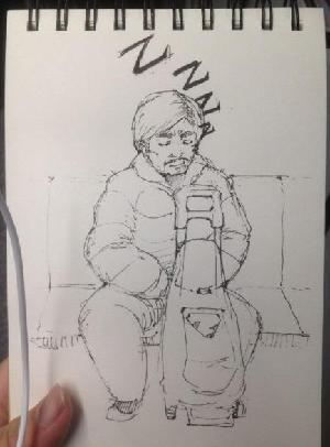 地铁上听歌 手绘