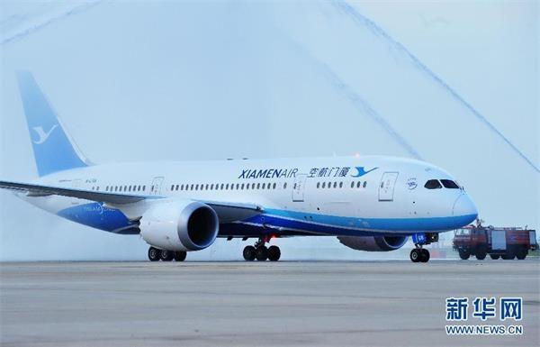 厦门航空首架波音787飞机从美国西雅图飞抵