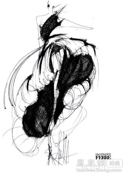 风衣设计图手稿铅笔画