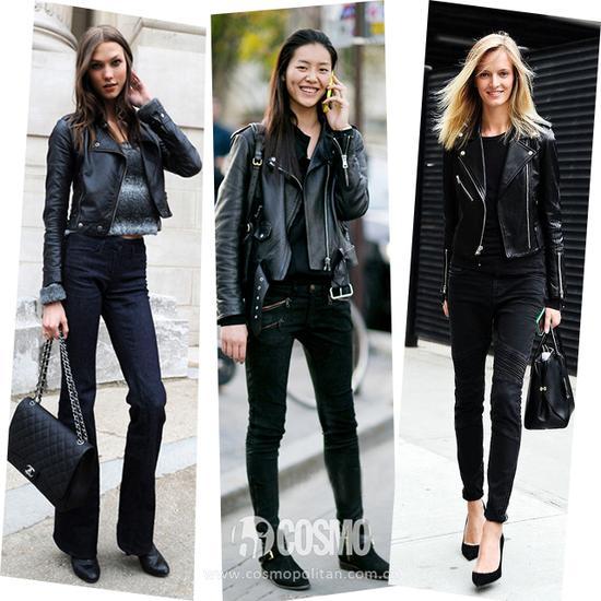 皮夹克搭配浅色牛仔裤,脚踩一双马丁鞋,充满青春活力.