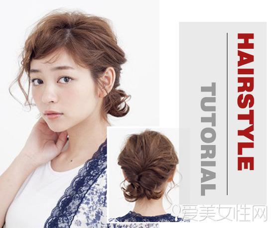 style 3   短发在脑后扎成造型独特的小辫子使人眼前一亮,额前的