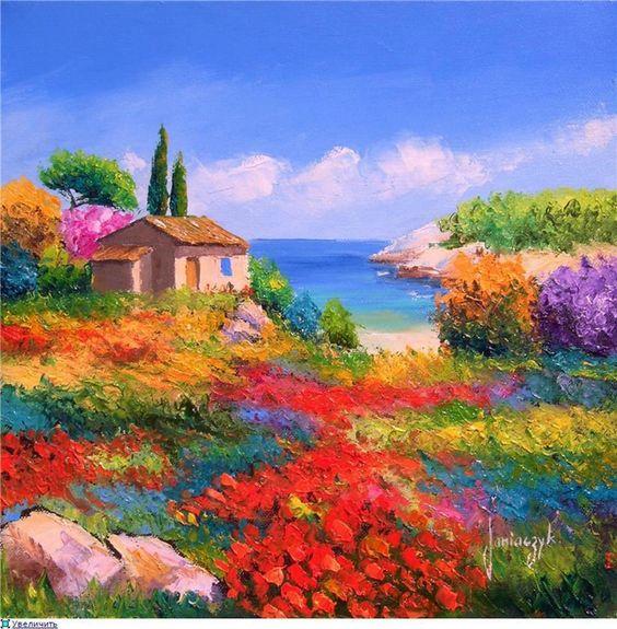 乡村风景油画高清大图