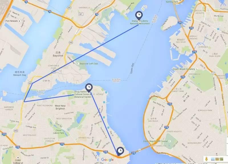 第三天   斯塔滕岛   登陆自由女神岛   DAY3线路规划   自由女神斯纳格港文化中心瓦兹沃斯堡    斯塔滕岛   自由女神(Statue Of Liberty)   观赏时间约3个小时   自由女神,又称自由照耀世界,是法国在1876年赠送给美国的独立100周年礼物。美国的自由女神像位于美国纽约州纽约市哈德逊河口附近,是雕像所在的美国自由岛的重要观光景点。    自由女神(Statue Of Liberty)   自由女神穿着古希腊风格服装,头戴光芒四射冠冕,七道尖芒象征七大洲。右手高