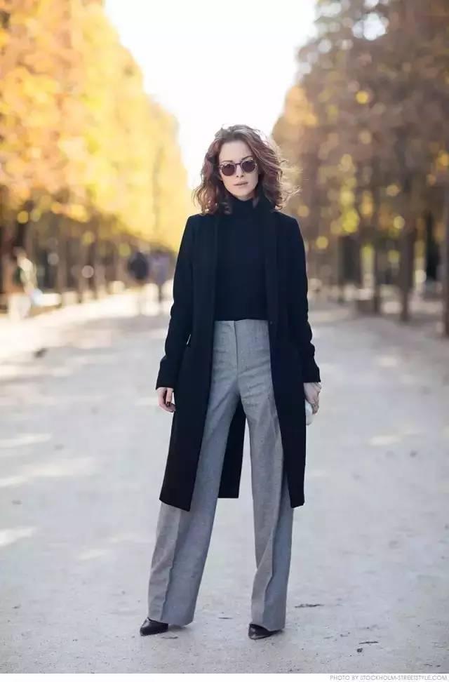 大衣和阔腿裤黑白配的穿搭-最全大衣 阔腿裤搭配 回头率满分