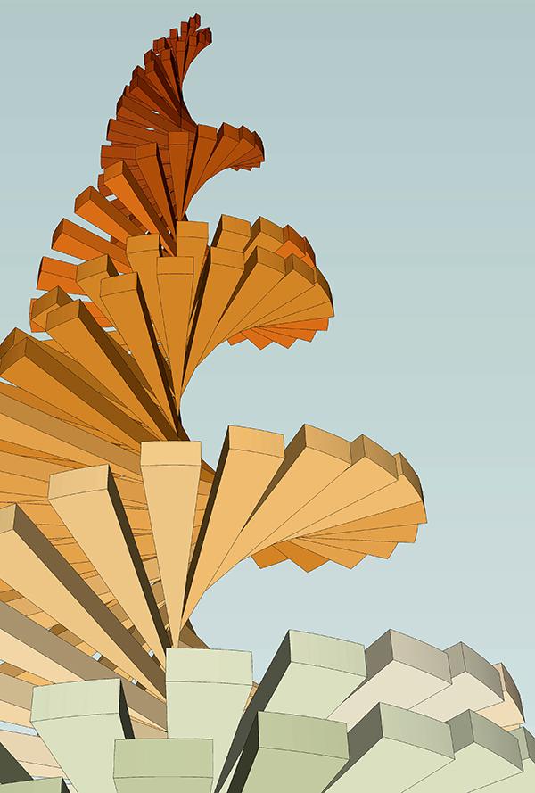 整个结构用80层松木板由三文鱼粉色到绿茶色的渐变