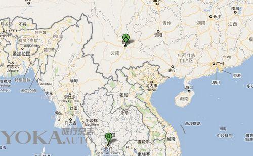 昆明至老挝地图
