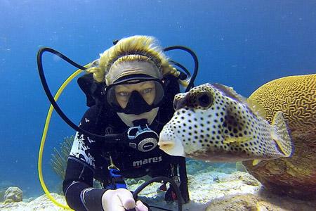 杆与海底生物合影