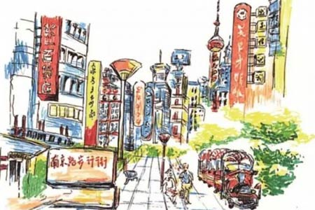 上海小囡手绘上海地标