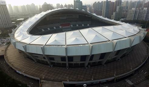 航拍上海体育场:沪上体育文化中心