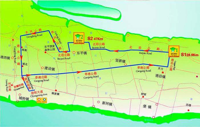 """""""崇明工业园区""""环崇北赛段比赛示意图 2012年5月9日 起点终点:城桥镇"""